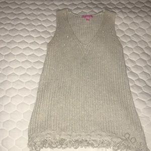 Lilly Pulitzer gold sweater tank
